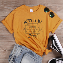 ONSEME Jesus Is My Jam T Shirt Women Faith Shirts Christian Tees Blessed Tshirt Female Cute Radio Graphic Tee Retro Tops