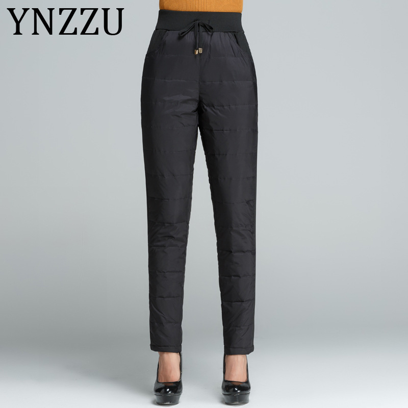 YNZZU New Winter Duck Down Pants For Women Plus Size High Waist Skinny Warm Pants Women's Casual Mom Waterproof Trousers AB242