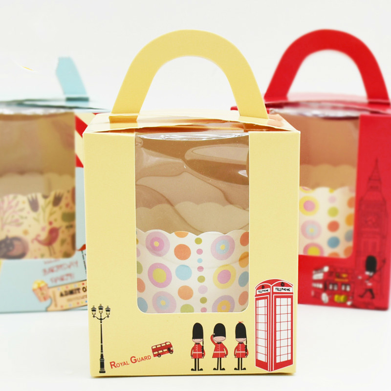 50 pièces boîte à Cupcake avec poignée de fenêtre cirque licorne fleur de noël boîte de cadeau de mariage emballage tasse gâteau Kraft boîtes d'emballage - 4