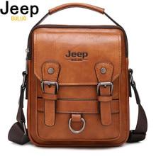 JEEP BULUO Brand New Mans Crossbody Shoulder Bag Multi function Men Handbags Large Capacity Split Leather Bag For Man Travel