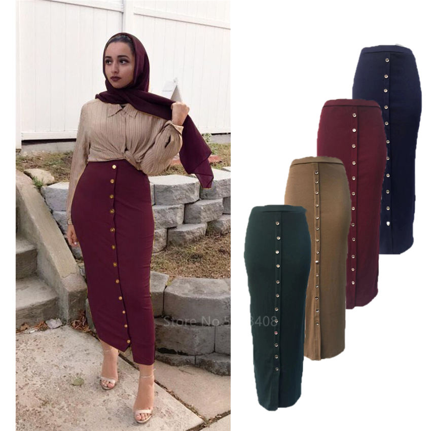 Fashion Muslim Elegant Skirt Islamic Dubai Turkish Solid Half Dress Women Hight Waist Buttons Party Long Maxi Islamic Clothing