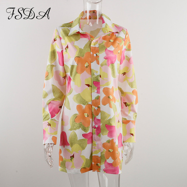 FSDA 2021 Floral Print Long Sleeve Shirt Dress Women V Neck Spring Summer Mini Sexy Beach Casual Bodycon Party Dresses 5