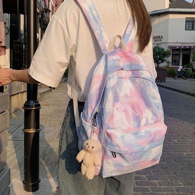 женский рюкзак с галстуком краской разноцветный школьный дорожный фотография