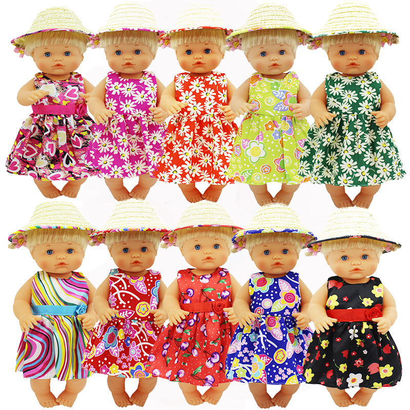 Colorful Dress+Straw Hat Clothes Fit 42 Cm Nenuco Doll Nenuco Y Su Hermanita Doll Accessories