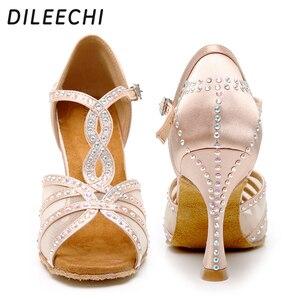Image 1 - Dileechi sapatos de dança latina, mulheres sapatos de dança festa cetim malha brilhante strass salsa sandálias de dança 9cm