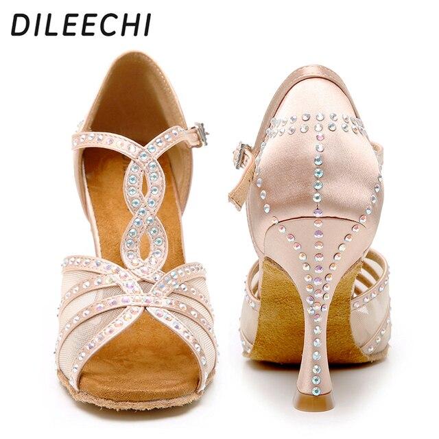 Dileechi sapatos de dança latina, mulheres sapatos de dança festa cetim malha brilhante strass salsa sandálias de dança 9cm