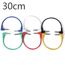 6Pcs 30cm Colorful Guitar Patch Copper Cables Angled for Effect Pedals Accessories