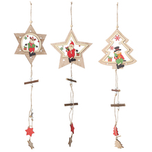 Xmas New Year 2020 Christmas decorations DIY Wooden five-pointed star pendant Small tree six-pointed star window small hanging suicidal hanging a six year prospective and retrospective study
