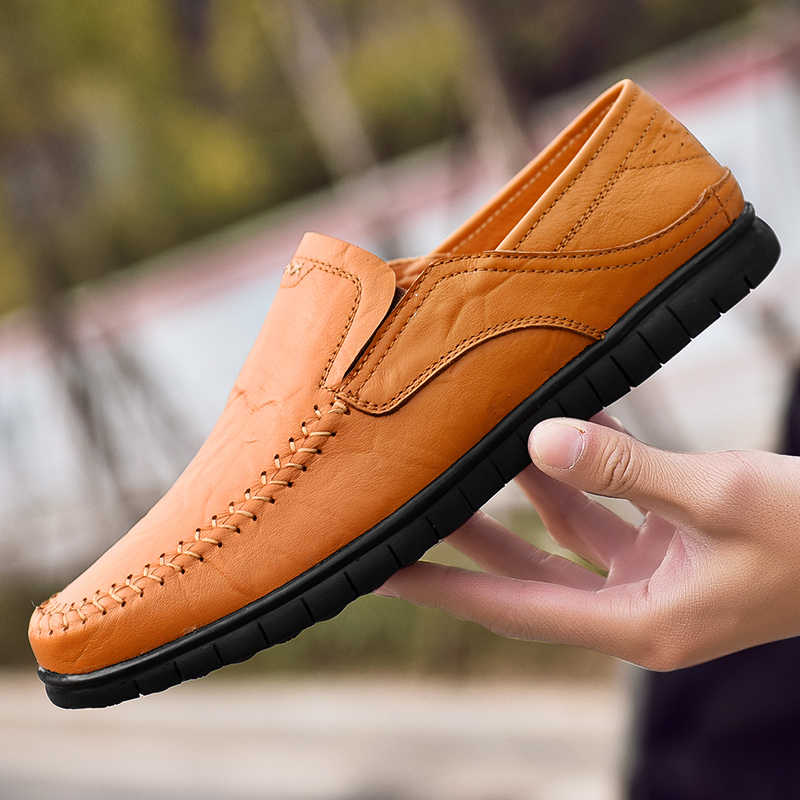 Große größe 38-46 Mode männer Müßiggänger Atmungsaktive Leder Mokassins männer Casual Schuhe Weiche 2019 Neue Sommer fahren Schuhe