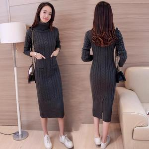 Image 4 - Autumn Winter Europe and United States Vintage womens wool dress thickening knit dress Casual Knitted Sweater Dresses 2019