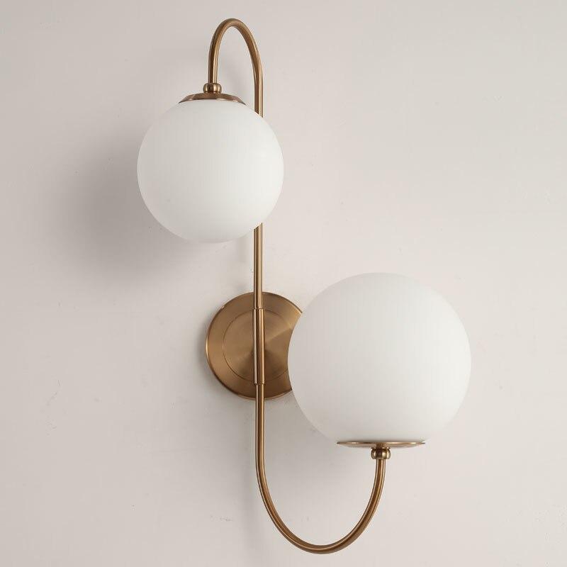 Nórdico moderno vidro meta preto/bola de ouro retro vintage lâmpada parede e27 loft para café quarto foyer