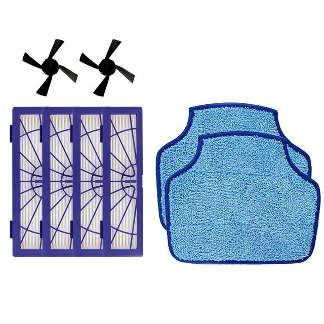 4PCS Hepa Filter & 2PCS Side Brush & 2PCS mopping cloth for Neato Botvac D3 D4 D5 D6 D7 D70 D75 D80 D85 Connected Botvac 75e