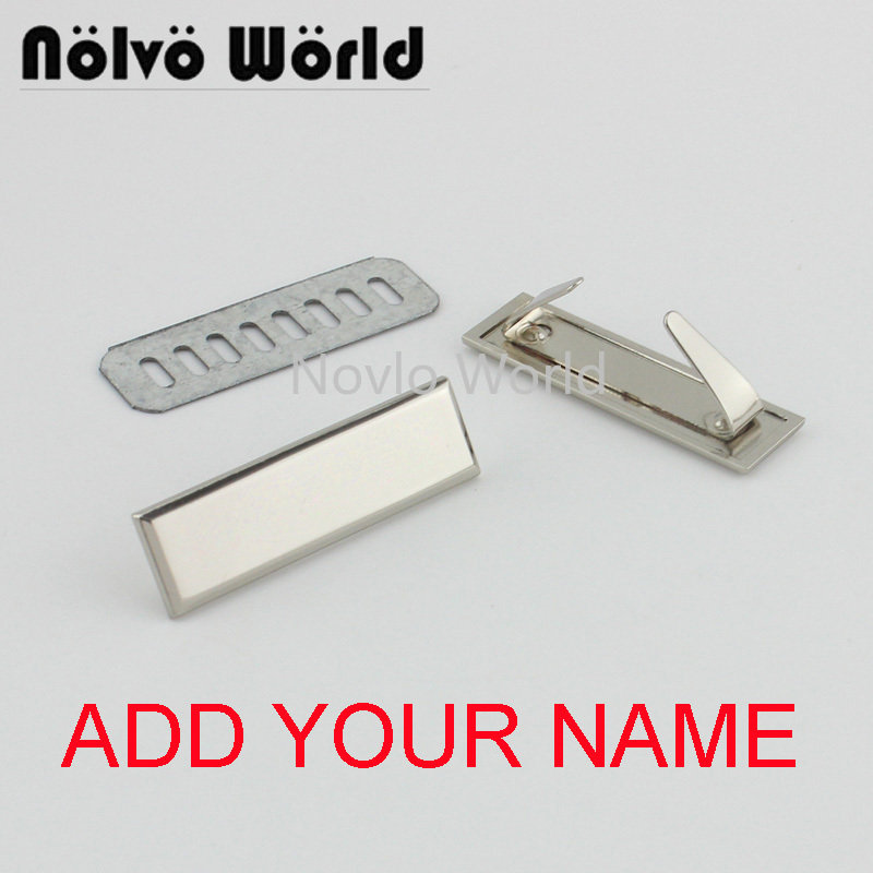 5-20-100 Pieces,Engrave YOUR NAME 45*13mm Light Gold Silver Long Rectangle Ornament Purse Label Tags,bag Purse Metal Labels