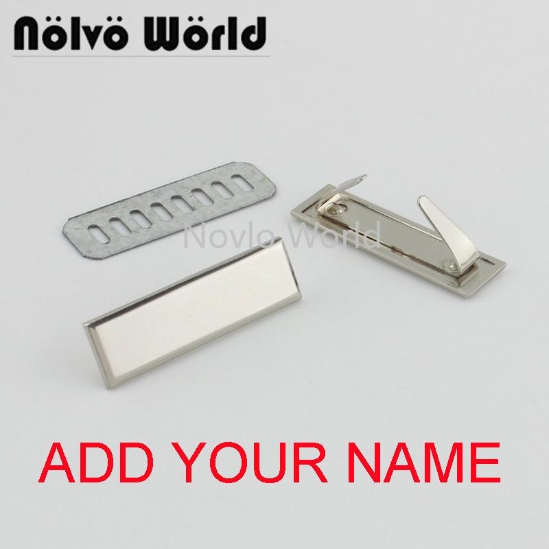 5-20-100 Pieces,Engrave YOUR NAME 45*13mm Light Gold Silver Long Rectangle Ornament Purse Label Tags,bag Purse Metal Labels