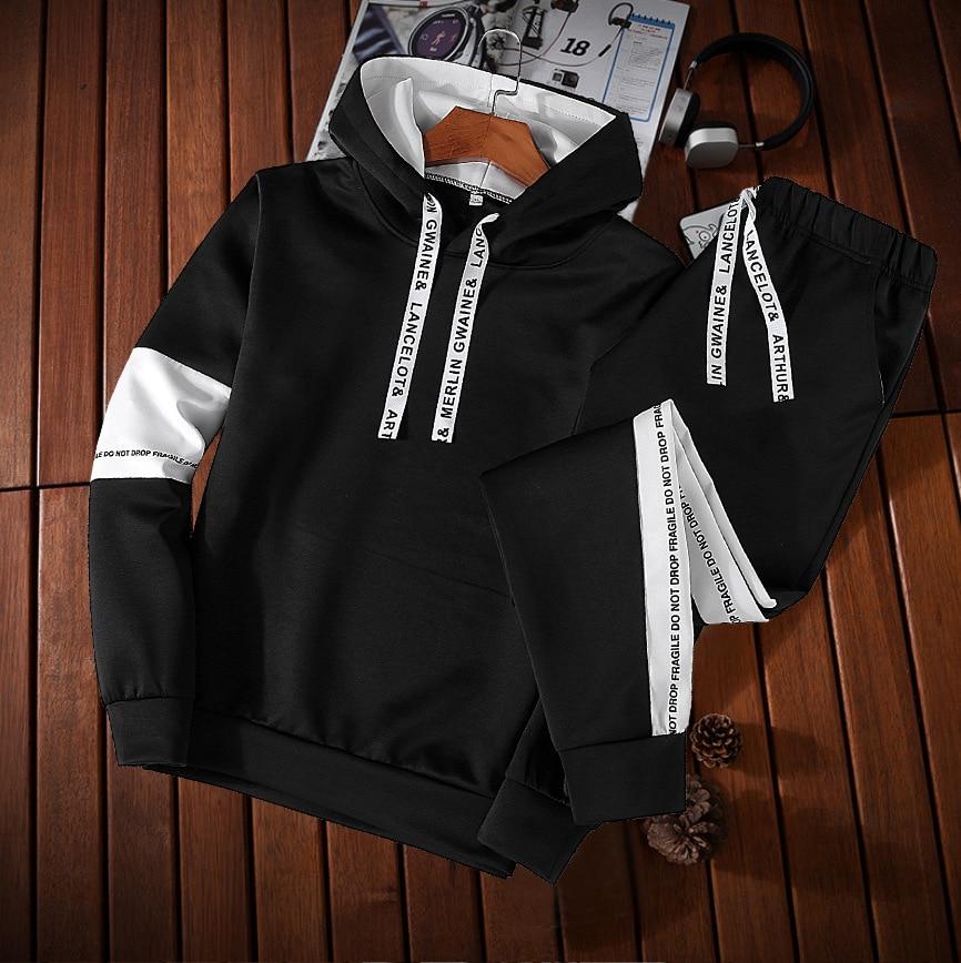 Leisure Suit Men's Autumn Cool Handsome Hoodie Two-Piece Set Korean-style Slim Fit Capri Pants Sports Set Fashion
