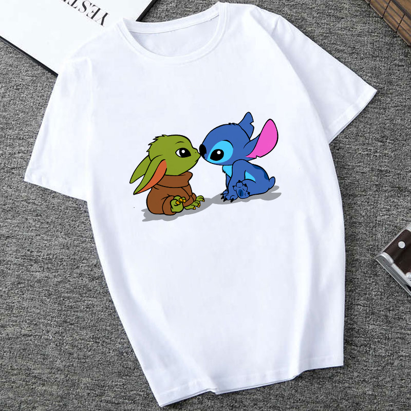 Showtly Lilo & Stitch And Baby Yoda Kiss Mandalorian Sweatshirt Men/Women Star Wars Space T Shirt 90S Science Fiction Movies Top