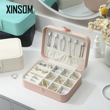 XINSOM Portable Jewelry Box Organizer New PU Leather Necklaces Earrings Rings Jewelry Storage Box Travel Case Casket Girls Gift