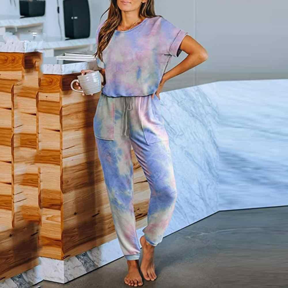 Tie dye Jogger Pajamas Tracksuit Sweatshirt Sweatsuit Loungewear Tops Pants Set