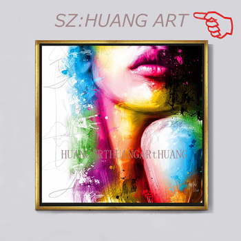 figure Lips Art Figure Art Sexy Woman Oil Painting on Canvas 100% Hand Painted Canvas Paintings Wall Art Picture for Living Room