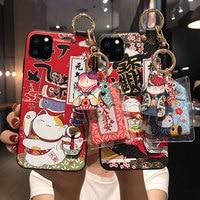 Lucky Cat-carcasa de soporte de muñeca para iPhone, 11, 12 Pro, Max, XS, MAX, XR, cubierta trasera suave de ornamento para iPhone X, 8, 7, 6, 6S Plus