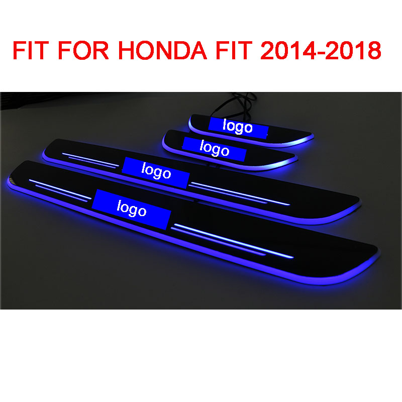 4PCS Acrylic Moving LED Welcome Pedal Car Scuff Plate Pedal Door Sill Pathway Light For <font><b>Honda</b></font> <font><b>Fit</b></font> 2014 <font><b>2015</b></font> <font><b>2016</b></font> 2017 2018 image