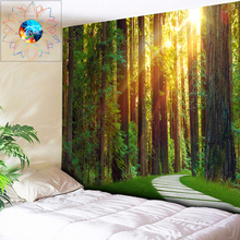 Hippie Tapestry Stroll Sunshine Forest Wall Hanging Psychedelic Decoration Wall Tapestry Dorm Decor Living Room Mandala Wall Art wall hanging art decor sunshine tree print tapestry