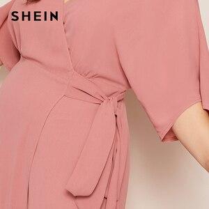 Image 5 - שיין בתוספת ורוד גודל מוצק צוואר הגלימה לעטוף חגור מקסי שמלת נשים סתיו קימונו שרוול קו גבוהה מותן אלגנטי שמלות