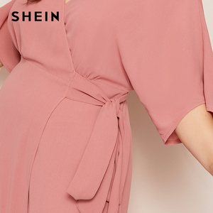 Image 5 - SHEIN Plus Rosa tamaño sólido Surplice cuello abrigo con cinturón Maxi Vestido Mujer otoño Kimono manga A línea alta cintura elegante vestidos