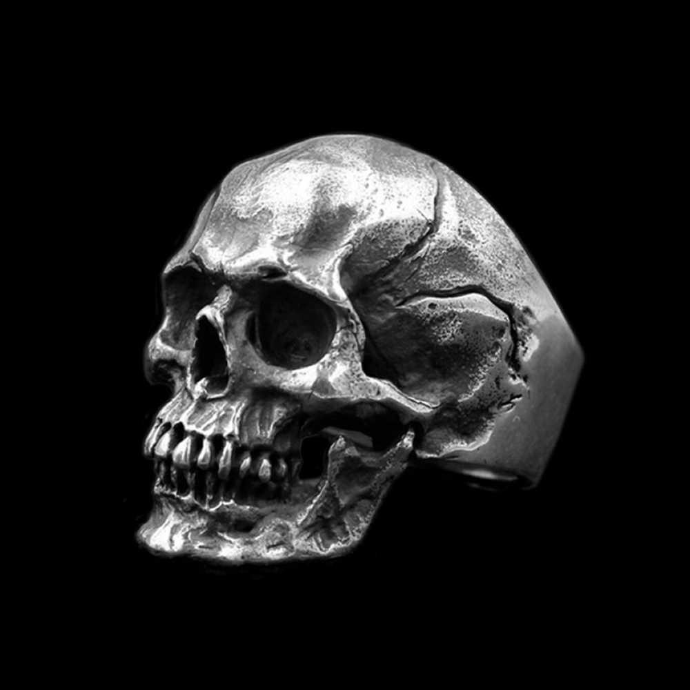 EYHIMD ผู้ชาย Calvarium Skull แหวนโกธิคเงิน 316L แหวนสแตนเลส BIKER รถจักรยานยนต์ Band เครื่องประดับ