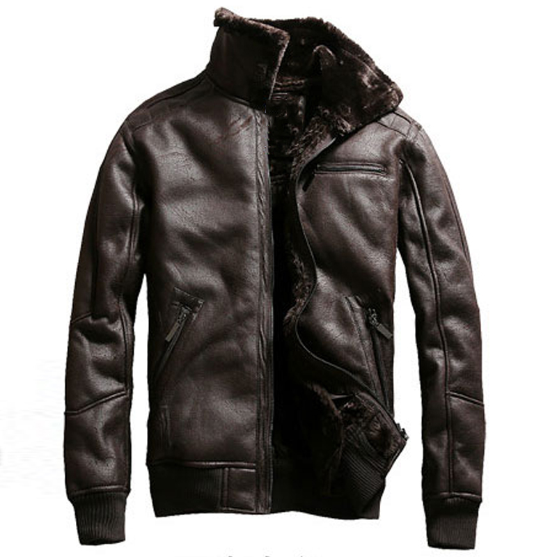 Air Force Mens Faux Fur Coat Winter Warm Shearling Clothing Brand Man's Fur Leather Jacket Coats Velvet Overcoat US Style A913
