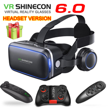 VR shinecon 6.0 гарнитура Версия Очки виртуальной реальности 3D очки гарнитура шлемы смартфонов полный пакет+ геймпад