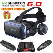 Original vr shinecon 6.0 fone de ouvido versão realidade virtual 3d óculos capacetes smartphone pacote completo + controlador