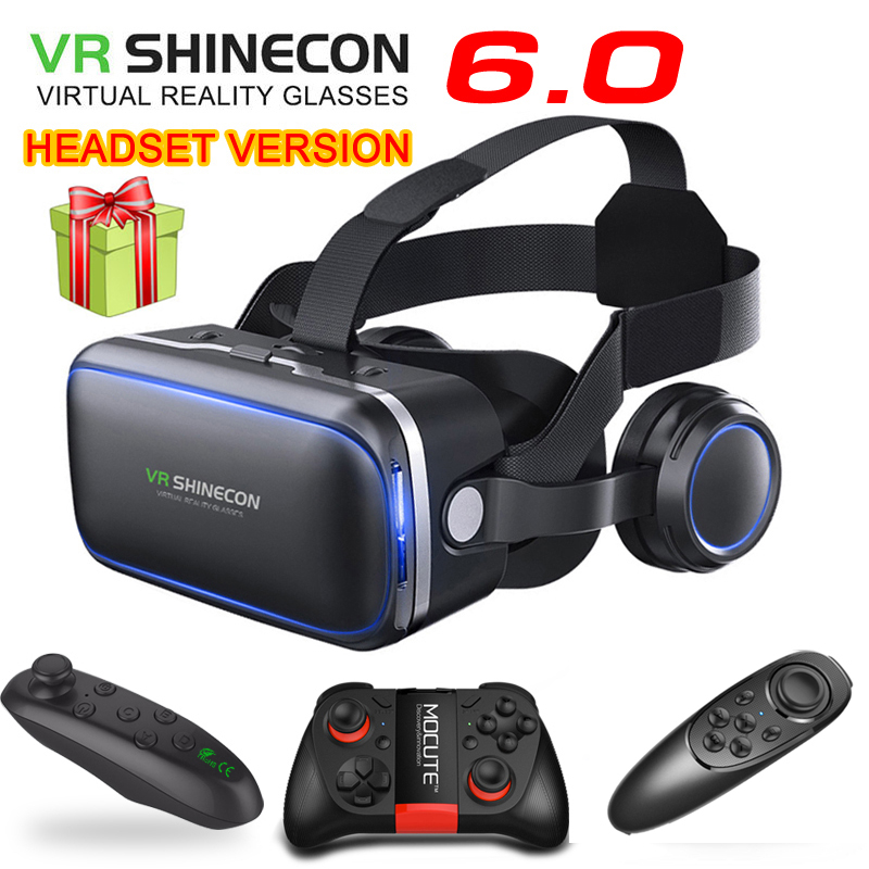 Original <font><b>VR</b></font> shinecon 6.0 headset version virtual reality <font><b>glasses</b></font> 3D <font><b>glasses</b></font> headset helmets smartphone Full package + controller image