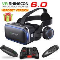 Original vr shinecon 6.0 fone de ouvido versão óculos realidade virtual óculos 3d fone de ouvido capacetes smartphone pacote completo + controlador