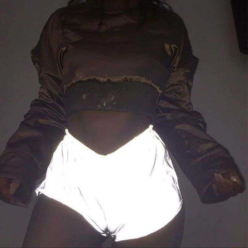 Hip Hop Women Sexy Reflective Shorts Shiny In The Night Bottoms Festivals Clubwear Costumes Silver Evening Party Clubwear