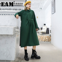 [EAM] Women Green Pleated Split Joint Big Size Dress New Lapel Long Sleeve Loose Fit Fashion Tide Spring Autumn 2019 1H353