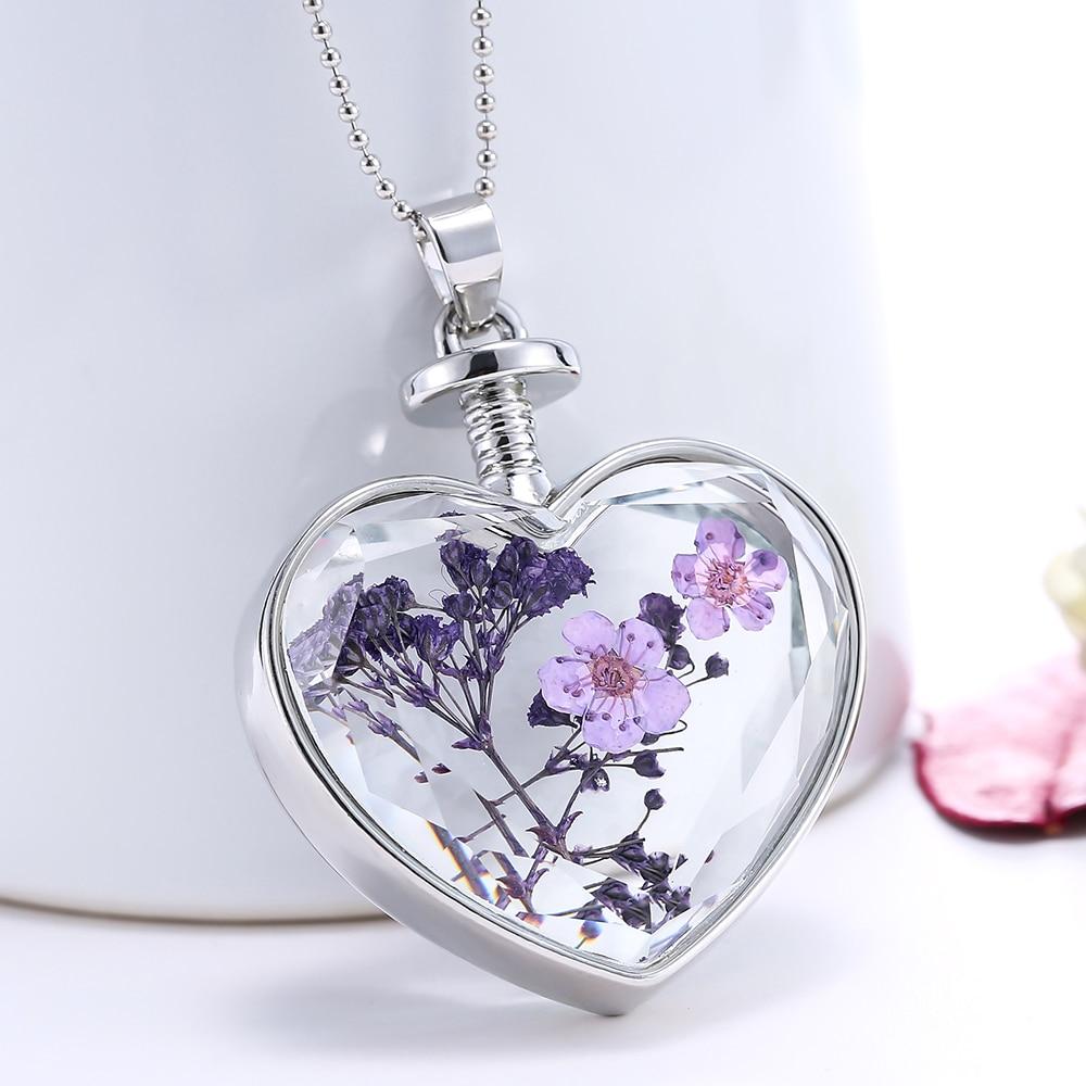 Модные сушеные цветы, растительная бутылка с образцом, стеклянные ожерелье и кулоны для женщин, стеклянный кулон «Флакон», украшения для вечеринок 60 см
