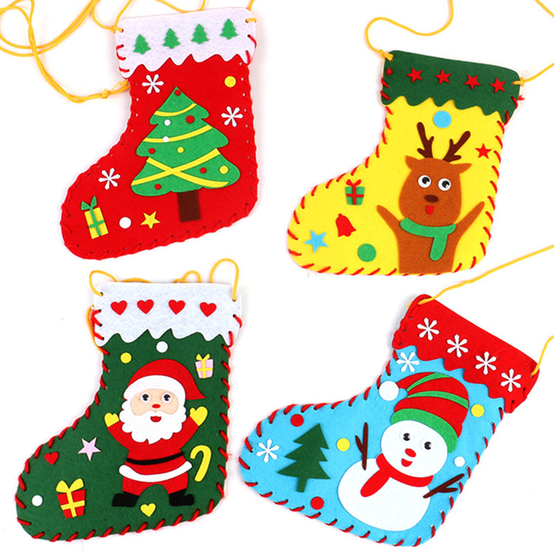 Sewing Toys DIY Christmas Stockings Kids Kindergarden Stitch Nonwoven Handwork Material Christmas Gift Bag 4pcs/Lot