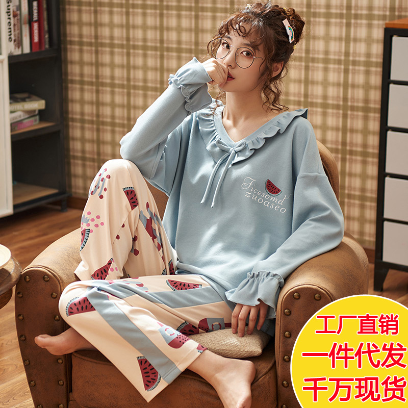 Pajamas Women's Autumn And Winter Pure Cotton Long Sleeve Large Size Fat Mm Spring And Autumn-Outer Wear Casual Cotton Homewear