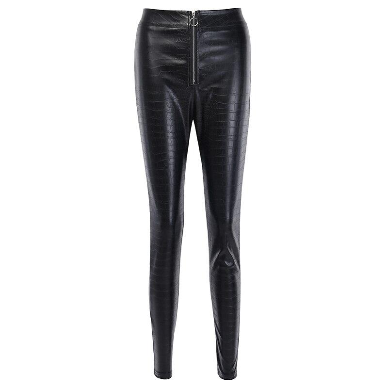 InstaHot Elegant High Waist Faux Leather Pants Women Pencil Skinny Pants Office Ladies Trousers Casual Slim Black Capris 2019 4