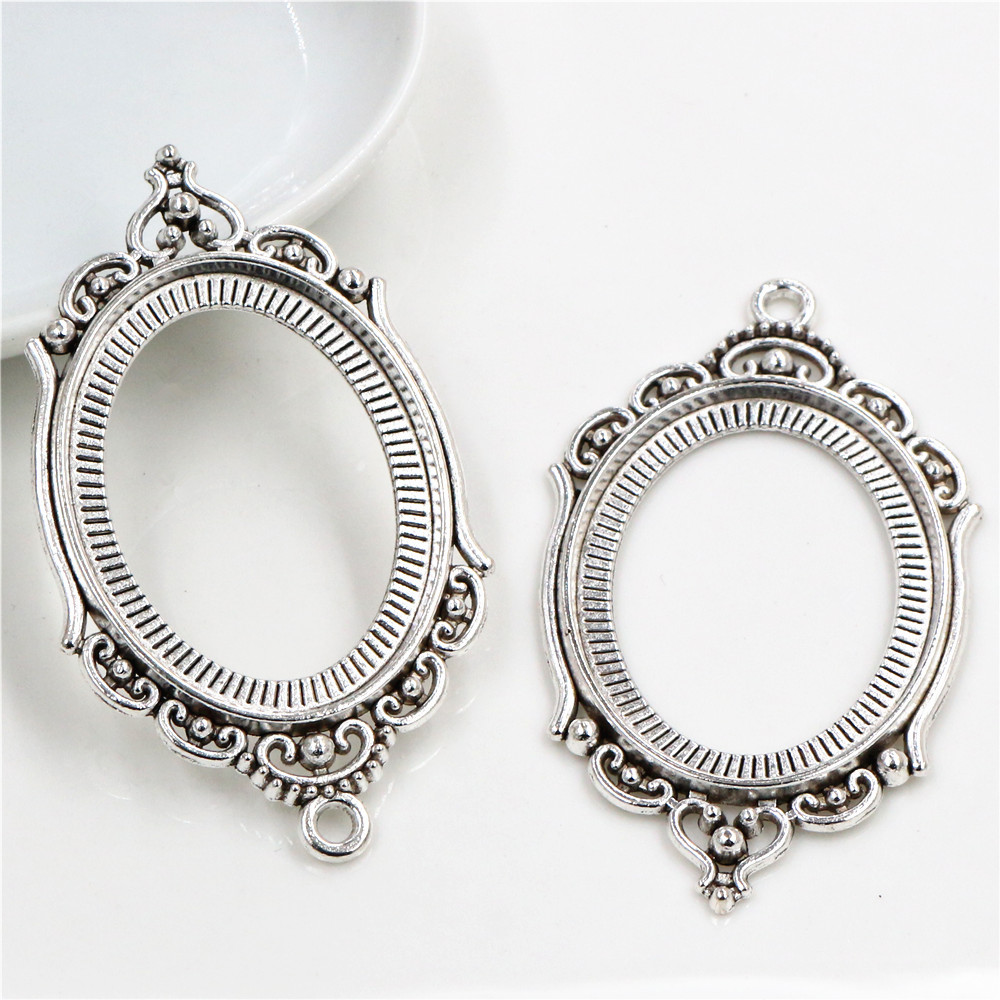 New Fashion 5pcs 30x40mm Inner Size Antique Silver Plated Simple Style Cabochon Base Setting Charms Pendant (B3-36)