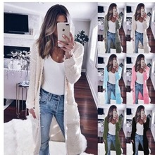 2019 Women Autumn and Winter Cardigan Coat Long Sleeved Cardigans Pointelle Cozy Sweater Clothes S-XL