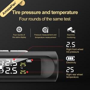 Image 3 - Solar Power Smart Auto Tpms Bandenspanning Alarm Monitoring Systemen Digitale Tmps Lcd Display Usb Auto Beveiliging Druk Sensor