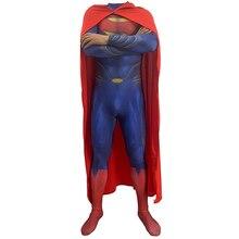 цена на Anime Suit Movie Justice League Superman Jumpsuits Clark Kent Cosplay Costume Zentai Superhero Cosplay Bodysuit Cloak