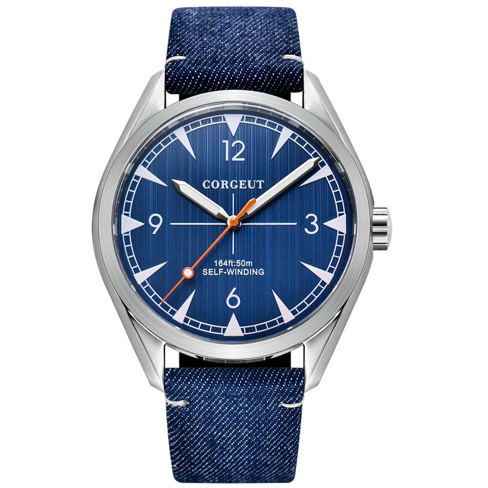 Corgeut 41mm Automatic Mechanical Watch Men Miyota Movement Luxury Leather Strap Luminous Waterproof Business Wristwatch Men