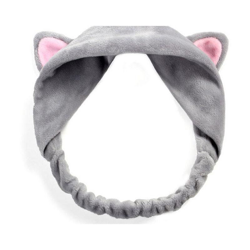 Cute Cat Ear Headband Elastic Headbands Elastic Soft Bath Wash Make Up Hairband Yoga Headwrap For Women Ladies