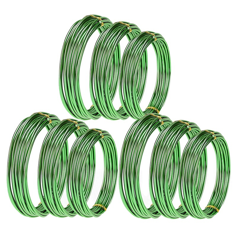 HOT-9 Rolls Bonsai Wires Anodized Aluminum Bonsai Training Wire With 3 Sizes (1.0 Mm,1.5 Mm,2.0 Mm),Total 147 Feet (Green)