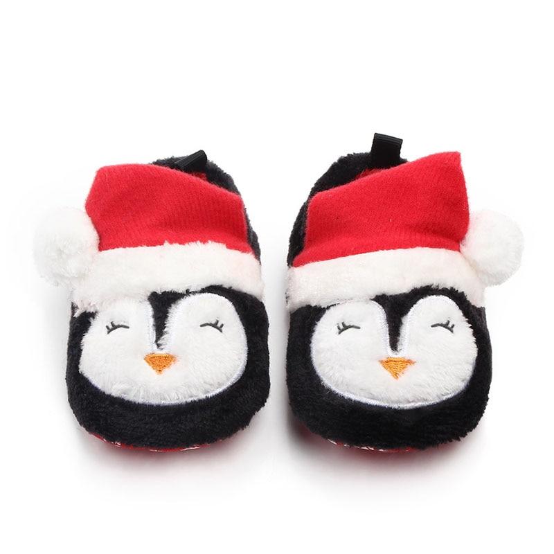 Xmas Baby Boy Girl Socks Toddler Shoes Solid Prewalkers Booties Cotton Winter Soft Anti-slip Warm Newborn Infant Crib Shoes