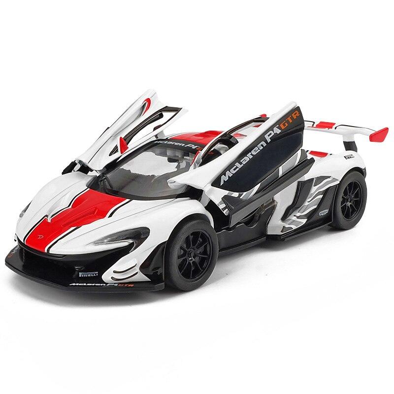 1/32 fundição mclaren 600lt p1 gtr modelo de carro esportivo brinquedo liga som luz puxar para trás supercarro brinquedos presentes veículo