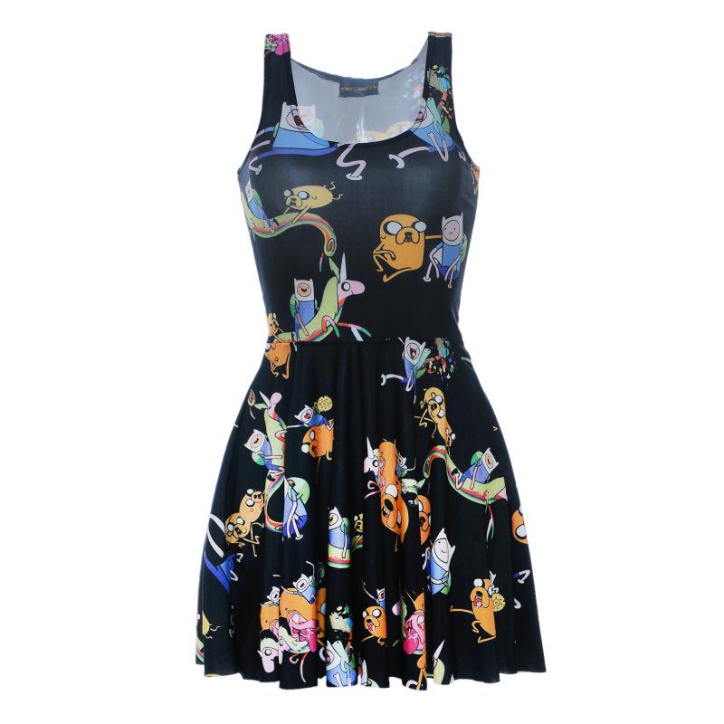 Dress Women Anime Cosplay for Pokemon 3D Printing Sleeveless Vest and Loose Skirt with Soft Polyester for Girls Tennis Dress